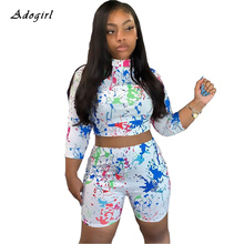 Street Hipster Graffiti Print Tracksuit Casual Crop Top With Shorts Sport Two Piece Set Evening Club Bodycon Women Sets Outfit недорого
