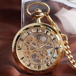 Image 4 - Механические карманные часы скелетоны, прозрачные винтажные наручные часы с открытым лицом, с карманной цепочкой, подарок на день рождения
