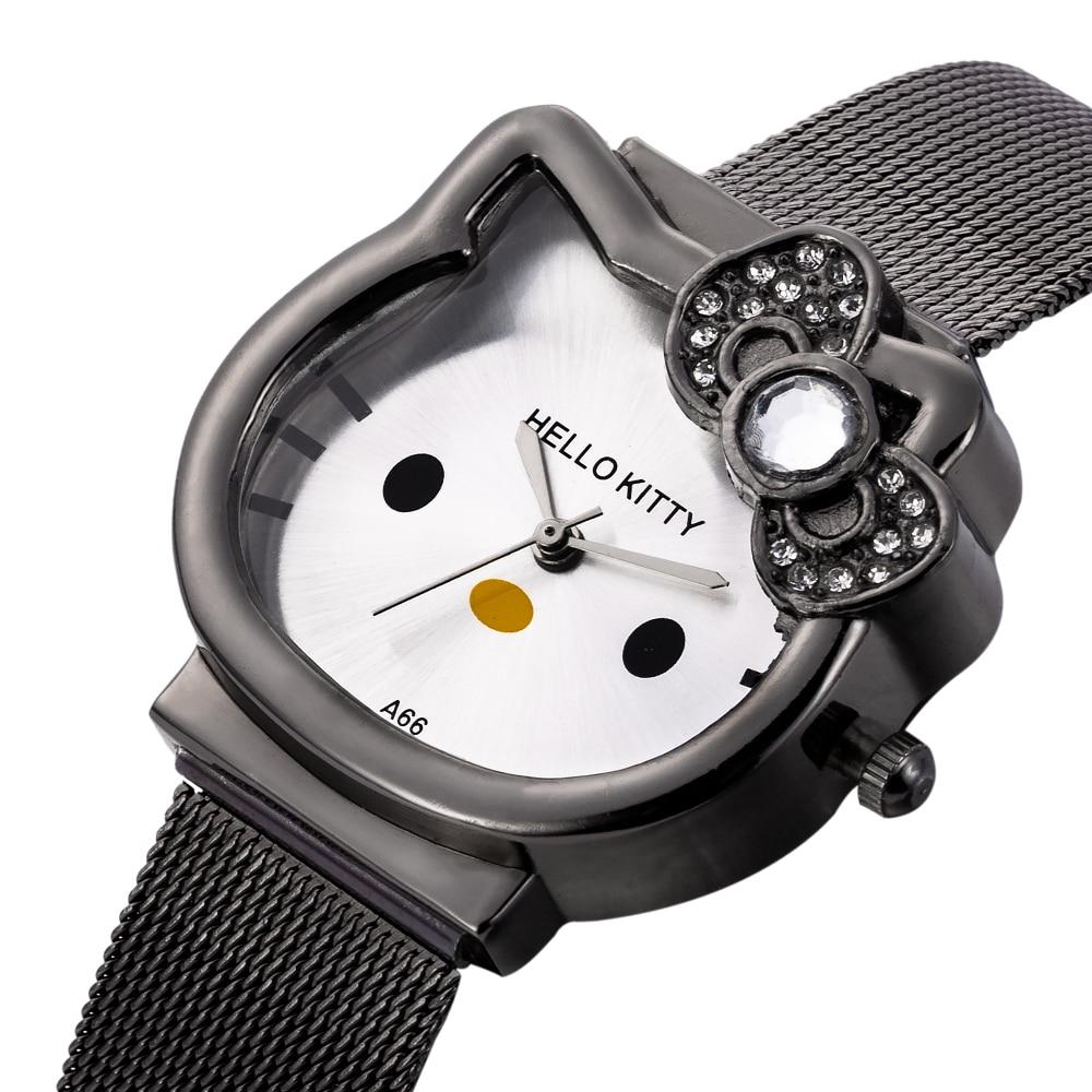 Children Kitty  Watch Hodinky KIids Luxury Gold Lady Girl Silver Mesh Steel Band Cute Clock Ceasuri Crystal Gift Saat Zegareki