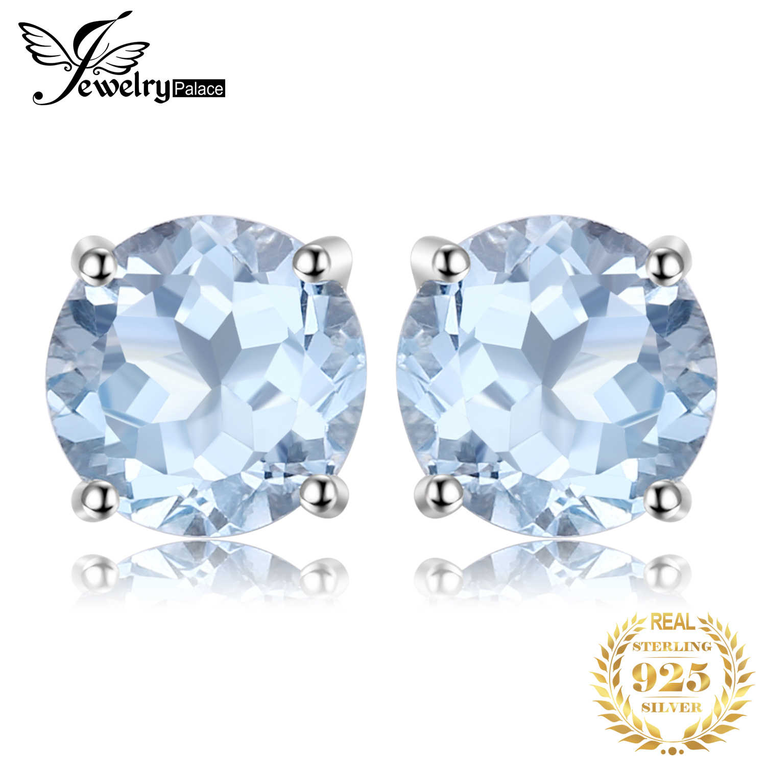 JewelryPalace 2ct Genuine Blue Topaz Stud Earrings 925 Sterling Silver Earrings For Women Korean Earings Fashion Jewelry 2019