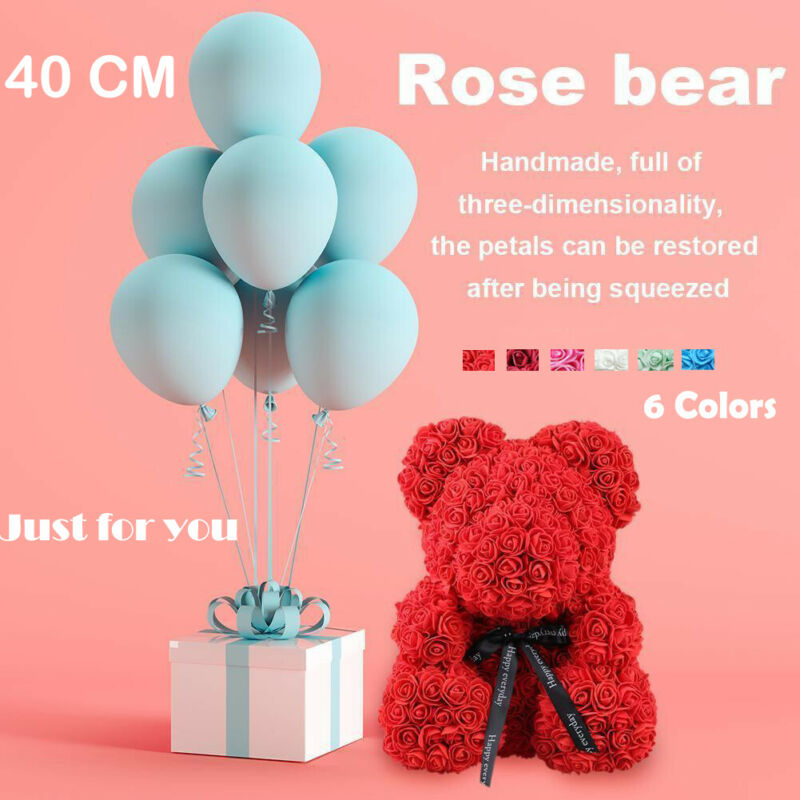 40cm Pink Rose Bear Heart Flower Stuffed Plush Gift For Teddy Doll Toy Mother's Day Birthday Wedding