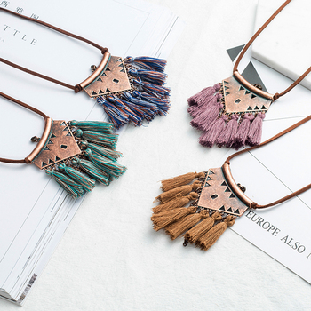 Women Boho Ethnic Tassel Pendant Necklace Jewelry Necklaces f02846ee759da375bf7e2a: Black|blue|Brown|green|grey|mix green|purple|red