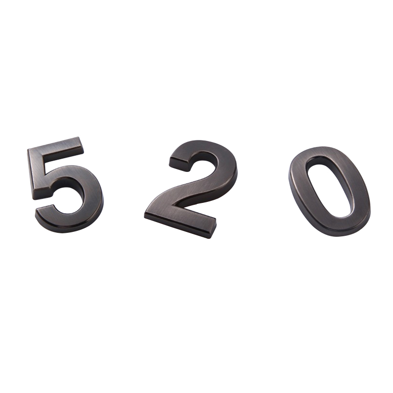 Adhesive door plates house number outdoor ABS and electroplate metal signe number plate Modern door address silver