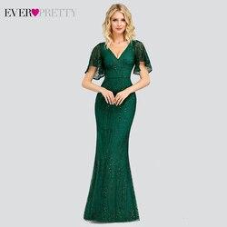 Сексуальные платья Русалка для выпускного вечера Ever Pretty EP00838DG с глубоким v-образным вырезом, с блестками, с рюшами на рукавах, блестящие Длин...