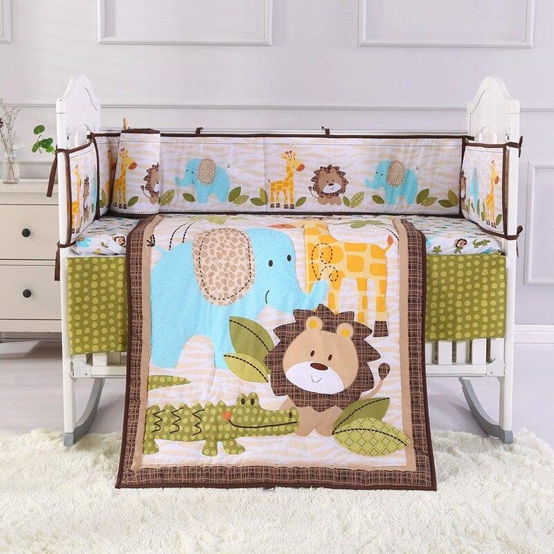 7PCS Lion Baby Bedding Set Cotton Soft Cot Crib Bedding Cradle Safety постельное белье (4bumper+duvet+bed Cover+bed Skirt)