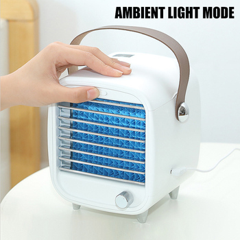 Mini Air Conditioner Portable Bladeless Cooling Fan USB Desktop Fan Air Cooler With  Night Light For Home Office-35 speed adjustable tower fan mute bladeless fan portable floor stand ventilation fan cooling fan with timer air conditioner 35w