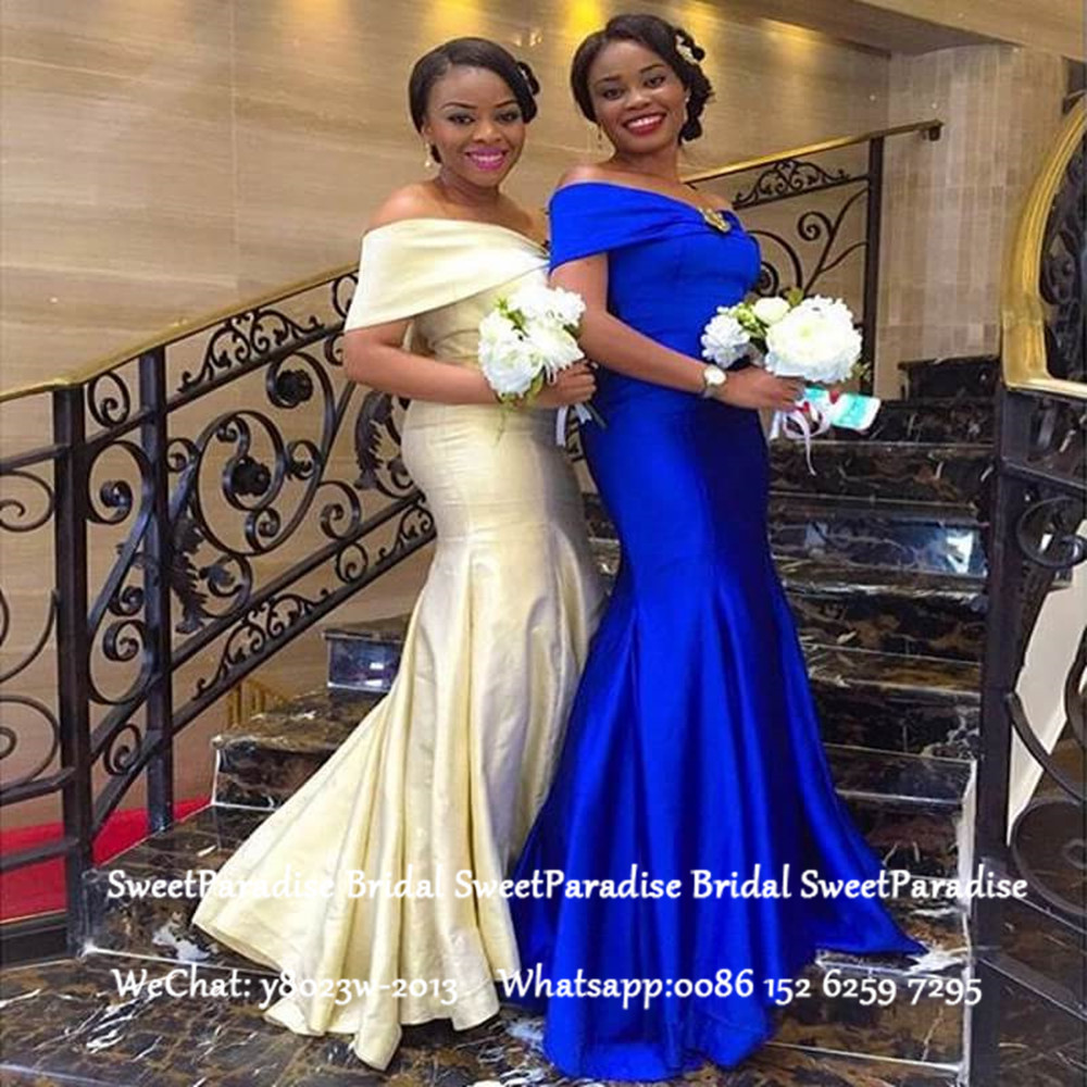 Women Off Shoulder Bridesmaid Dresses For Teenage Women Royal Blue Satin Long Mermaid Wedding Guest Dress Party Gown