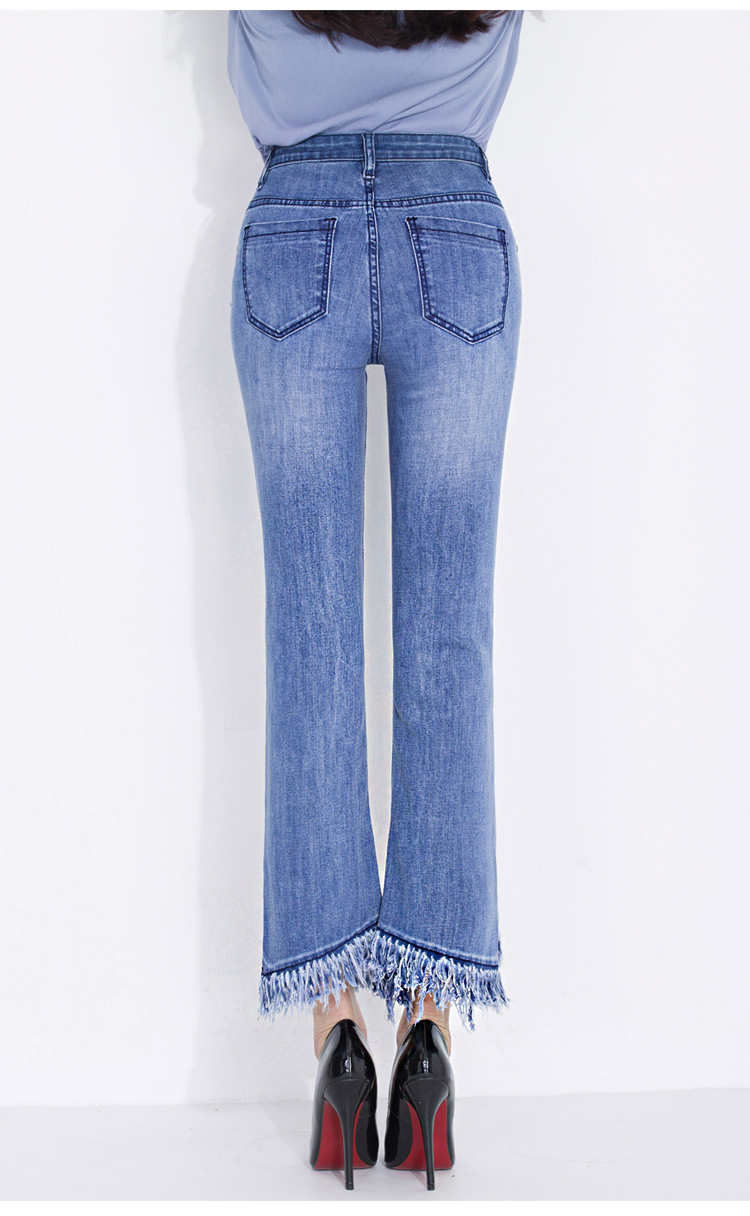 KSTUN FERZIGE jeans woman high waist jeans stretch blue spring and summer ankle length pants tassels flares women's clothing 15
