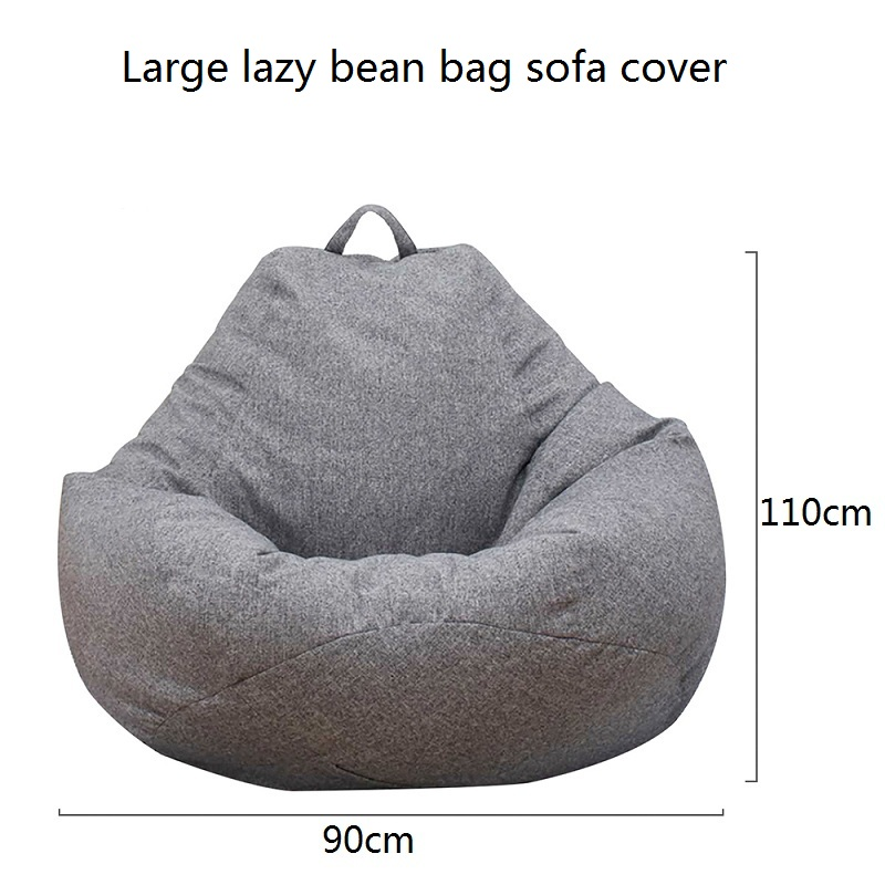 Large Lazy Bean Bag Sofa Cover 90*110cm No Padding Linen  Chair Bean Bag Sofa Tatami Living Room  Sitting Room Furniture