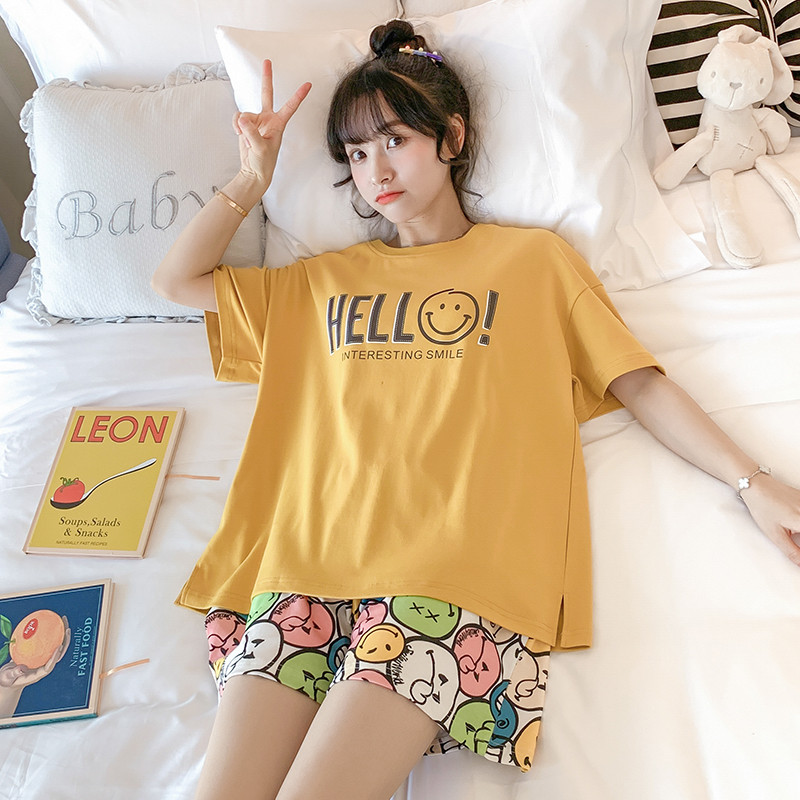 100% Cotton Comfortable Pajamas Short-sleeved Shorts Ladies Summer 2-piece Casual O-neck Cute Printing Female Student Home