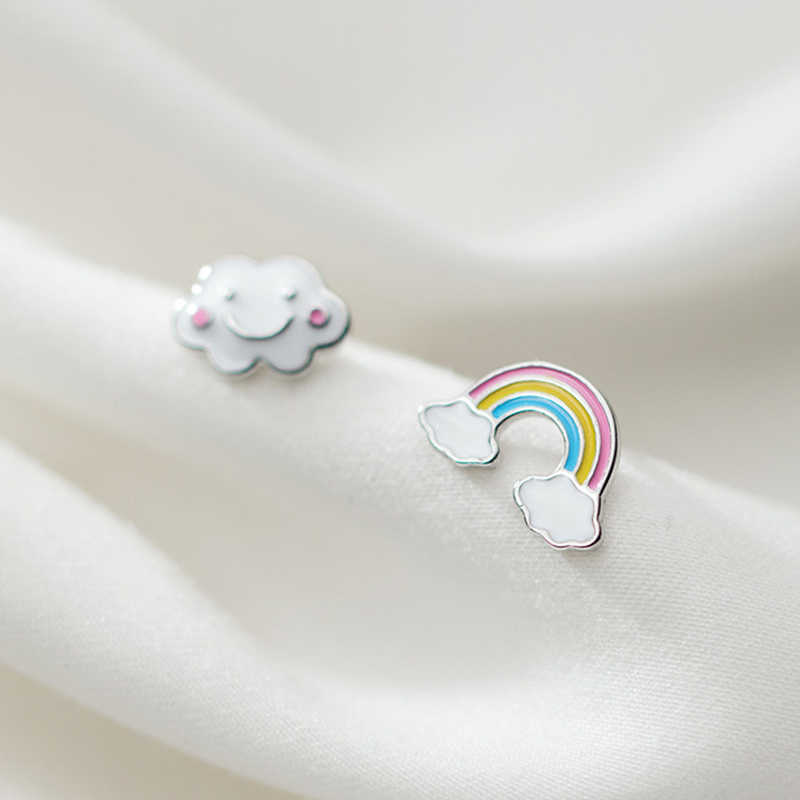 INZATT Real 925 Sterling Silver Minimalist Rainbow Clouds Stud Earrings For Fashion Women Cute Fine Jewelry Accessories Gift