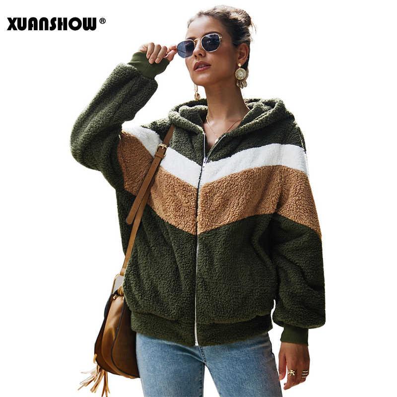 Xuanshow 2019 겨울 따뜻한 옷을 유지 여성 후드 티 스웨터 느슨한 지퍼 긴 소매 포켓 바느질 플러시 자켓 코트