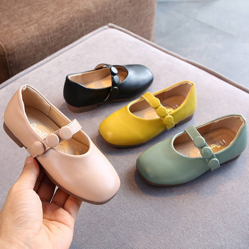 Autumn Girls Simple Princess Leather Shoes For Children Shoes Flowers Fashion White Wedding Kids School Flat Shoes