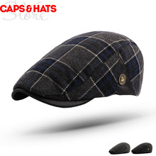2019 Winter Wool Beret Plaid Newsboy Caps Men Flat Peaked Cap Women Painter Beret Hats Czapki Zimowe Women Boina Hombre Hat(China)