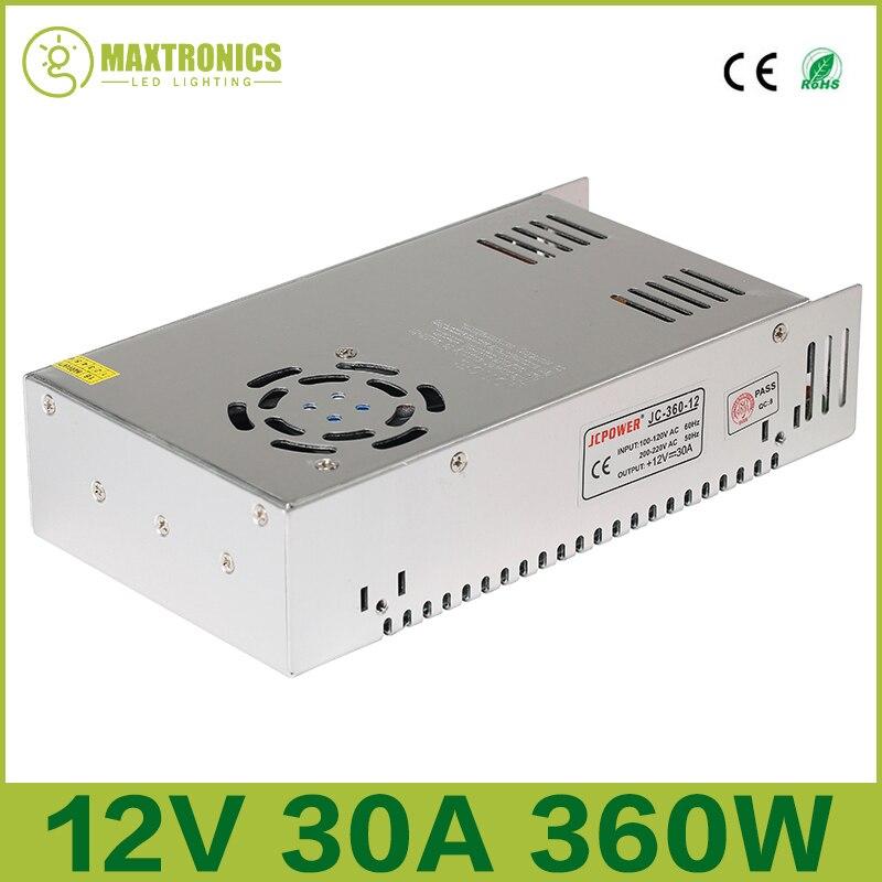 Лучшее качество 12 В 30A 360 Вт драйвер импульсного источника питания для светодиодной ленты AC 110-240 В вход в DC 12 В Бесплатная доставка