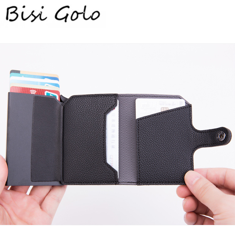 BISI GORO Protection Men Wallet RFID Blocking ID Credit Card Holder Leather Metal Aluminum Business Bank Card Case Card Wallet