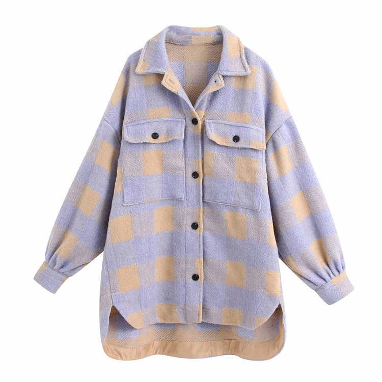 2020 Herfst Vrouwen Jas Turn Down Kraag Single-Breasted Chic Jas Plaid Print Pocket Jas Vrouwen Casual Jas Casaco feminino