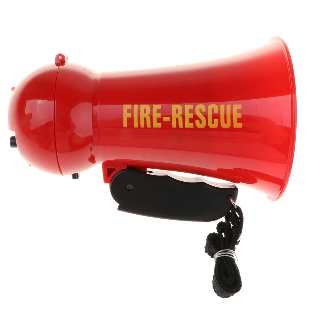 Pretend Play Kids Firefighter Megaphone Fireman Bullhorn With Siren Sound, Handheld Mic Toy