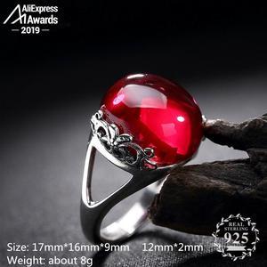 Image 2 - S925 בסדר עתיק חנות טבעת 925 כסף סטרלינג נשים בעבודת יד בציר טבעי אני אוהב אמא רובי אדום ג ספר