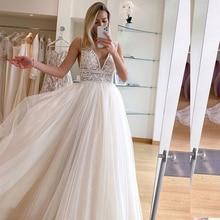 Light Wedding-Dress Champagne Boho Bohemian Vintage Bridal-Gown Robe-De-Mariee Lace Beach