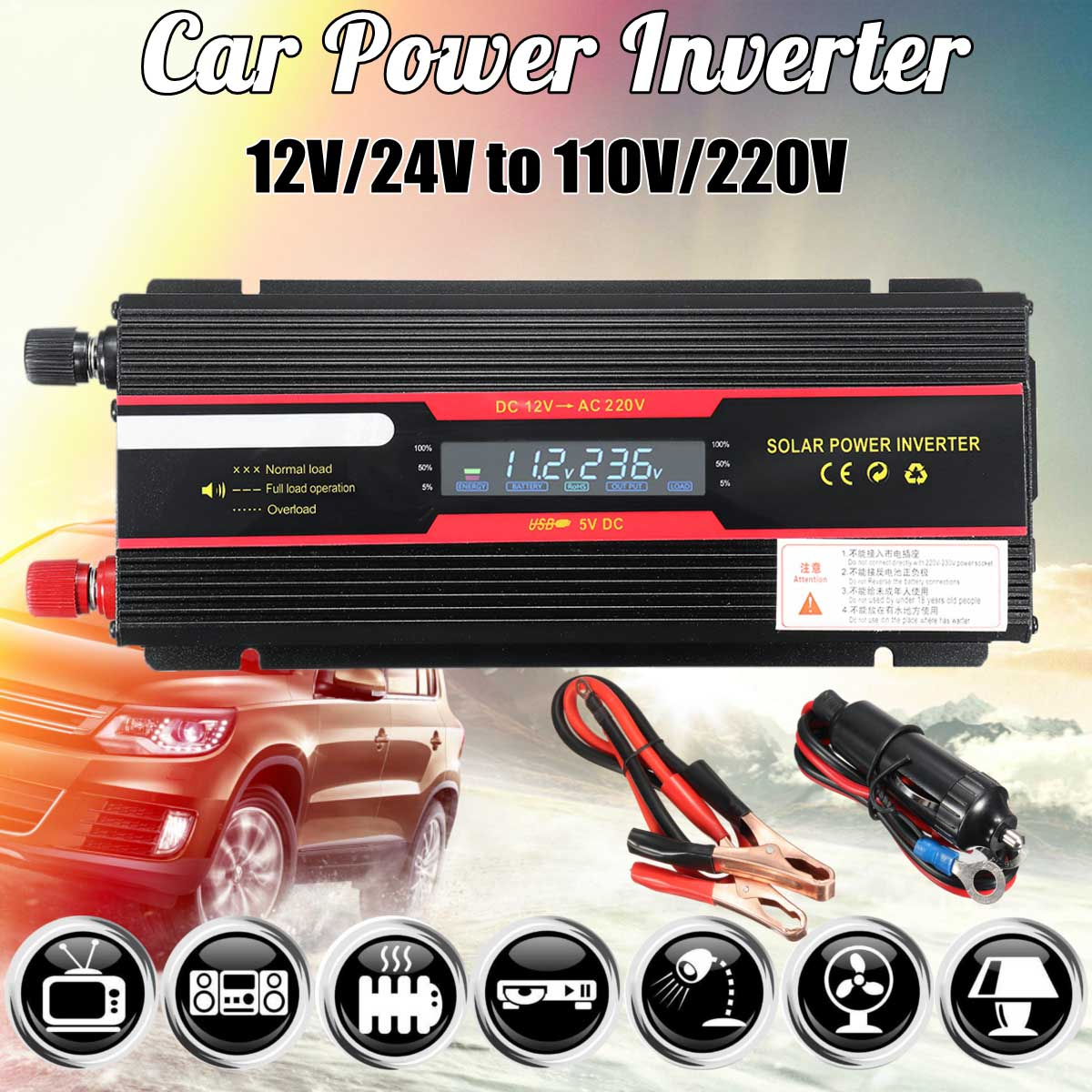 Car Inverter 12V 220V 6000W Peak Solar Power Inverter LCD Display DC 12/ 24V To AC 110V/220V Modified Sine Wave Converter