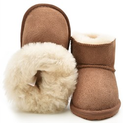 Children's Shoes Kids Snow Boots Natural Sheep Leather and Sheep Fur Cold Winter Boys Girls Warm Botas Baby Boots Waterproof