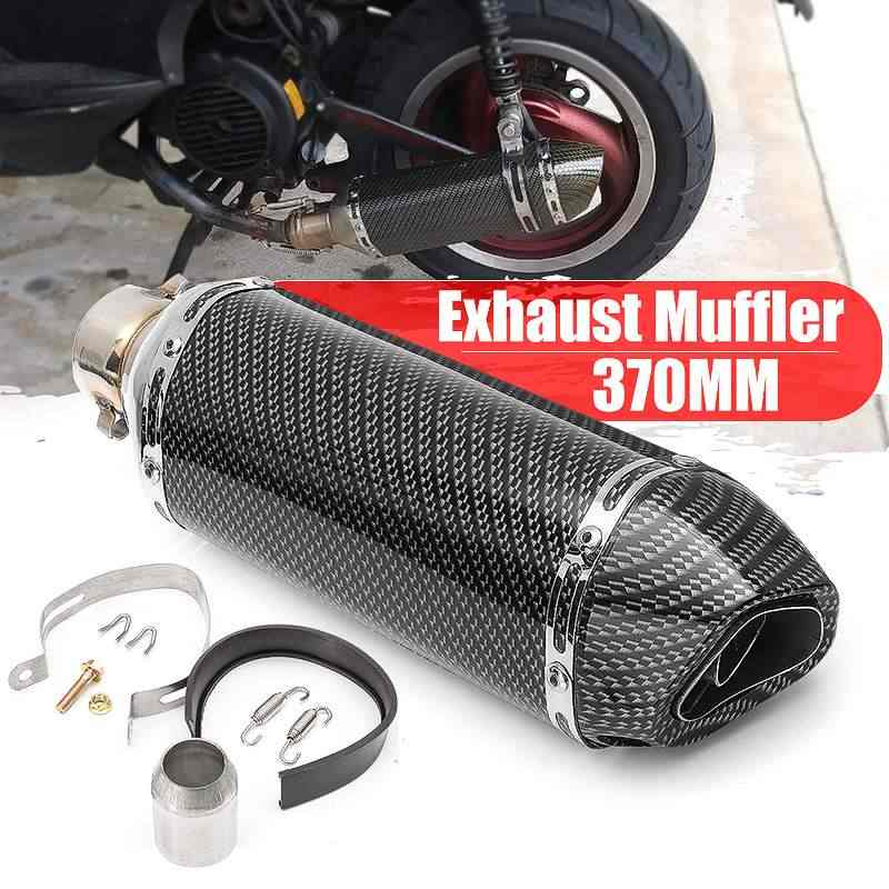 51Mm Motorcycle Racing Uitlaat Pijp Carbon Fiber Retro Uitlaat Tip Silencer Sport Straat Fiets Scooter Atv Quad