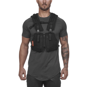Image 4 - Multi function Tactical Chest Bag Vest Outdoor Sports Fitness Men Protective Reflective Tops Vest Oxford Phone Waistcoat