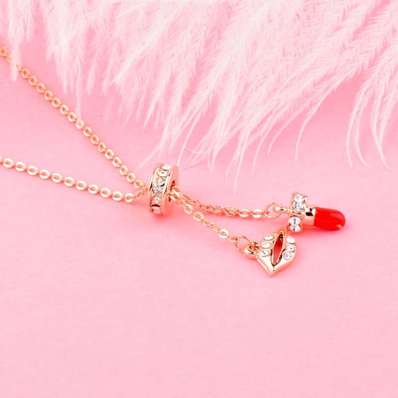 SINLEERY Lippe und roter Lippenstift verstellbare Anhänger Halskette - Modeschmuck - Foto 4