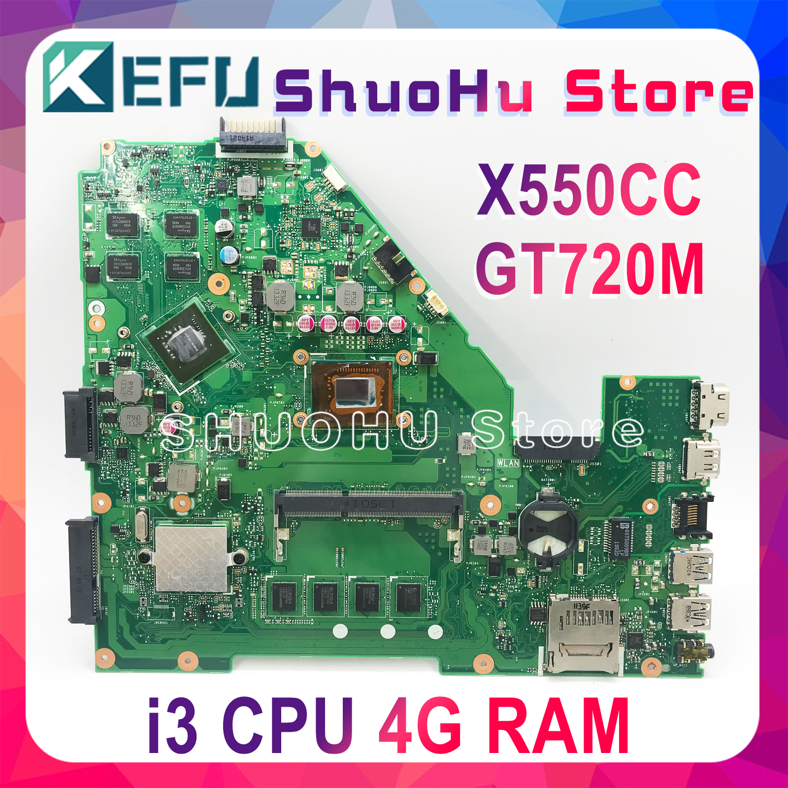 KEFU X550CC For ASUS X550CA R510C Y581C X550C X550CL laptop motherboard I3 CPU 4G tested 100% work original mainboard