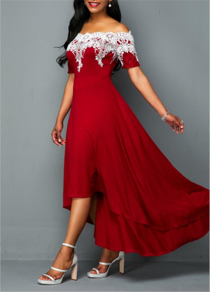 Elegant Sexy Plus Size 5xl one-shoulder lace Irregular Backless Party Dress - plus-size-dresses