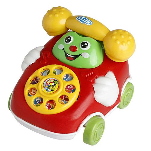 1Pc Baby Phone Toy Kids Cute Educational Developmental Cartoon Smile Face Toy Phone Car Gift