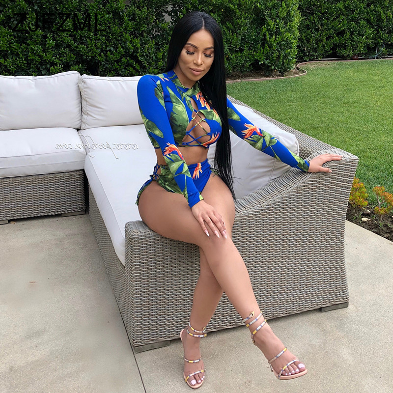 Plus Size Sexy Two Pieces Sets Summer Clothes For Women Floral Print Lace Up Crop Top And Biker Shorts Suit 2 Piece Tracksuits