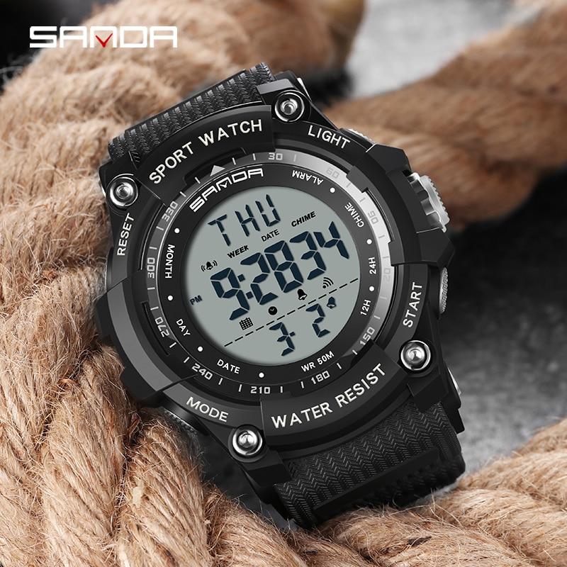 Top marque montre-bracelet 50M étanche hommes montres chronomètre Quakeproof numérique montre mode homme sport horloge SANDA montres cadeau