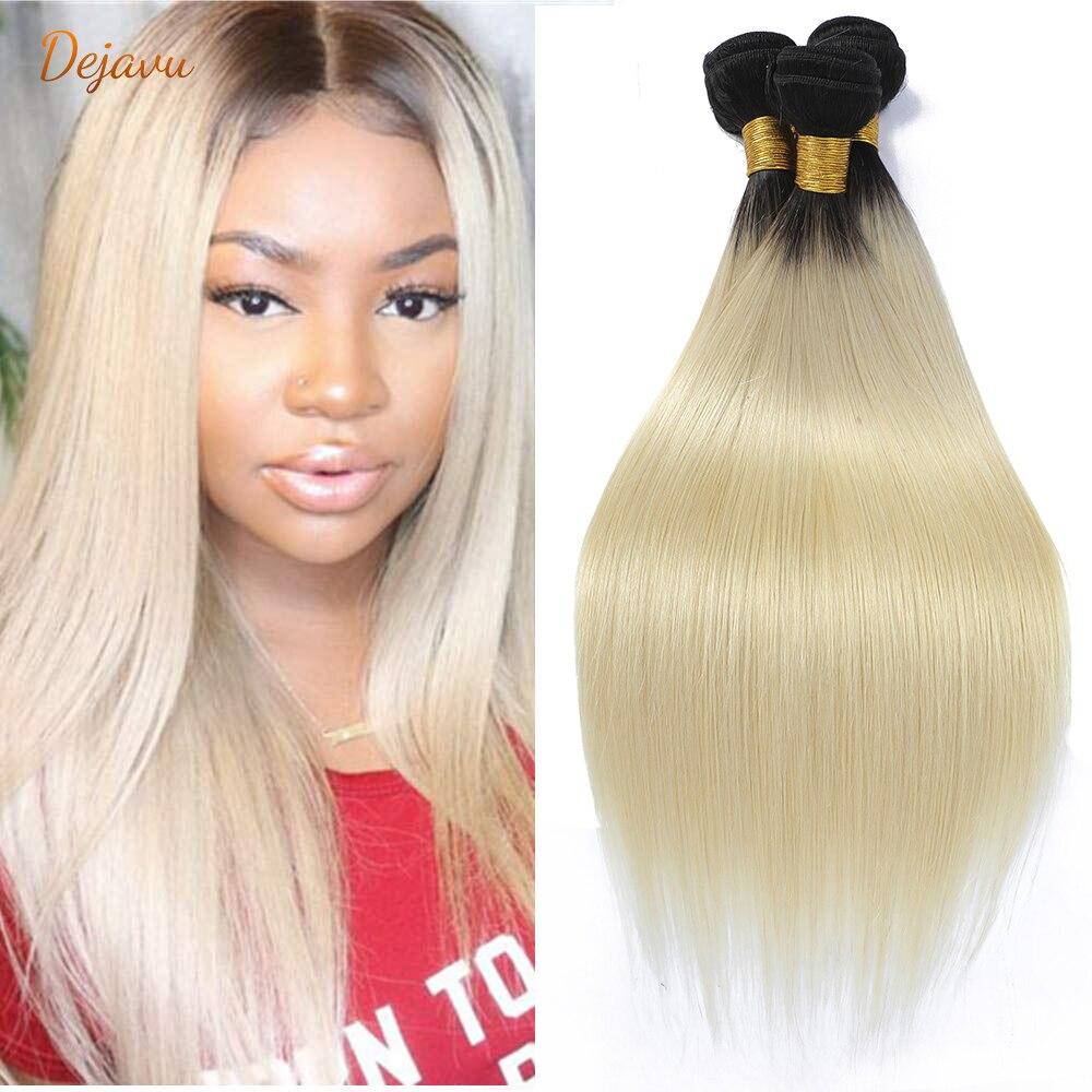 Dejavu 1B 613 эффектом деграде (переход от темного к светлые бразильские прямые волосы пряди 2 тона темные корни Платиновый Remy человеческие волос...