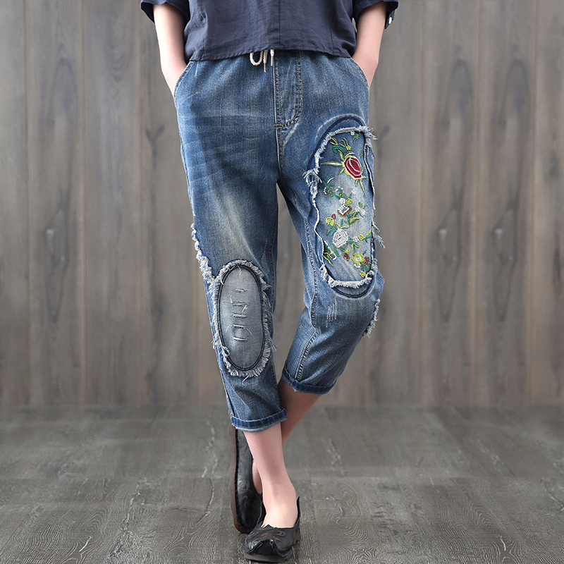 Floral Embroidery Jeans Femme Women Clothing Embroidered Casual Elastic Waist Harem Denim 782 Pants