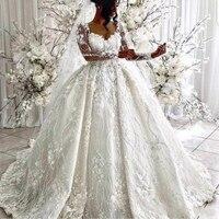 Charming Full Lace Ball Gowns Wedding Dresses Elegant Scoop Sheer Long Sleeves Bridal Gowns Hand Flower Dubai Arabic Wedding Dre