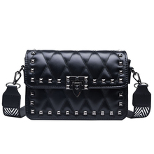 2019 New Womens Handbags Korean Version of The Loose Rivet Embroidery Line Shoulder Bag Multi-functional Texture Messenger