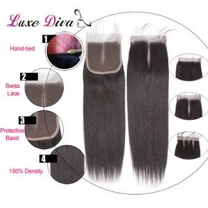 Image 5 - Luxediva naturalne włosy brazylijskie wiązki splecionych prostych włosów z zamknięcie koronki 4x4in Remy ludzkich włosów hurtowych luzem wiele cheveux