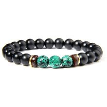 Natural Stone Black Onyx Beads Bracelet Fashion Wooden Beads Charm Healing Yoga Chakra Bracelet for Women Men Jewelry Gifts(China)