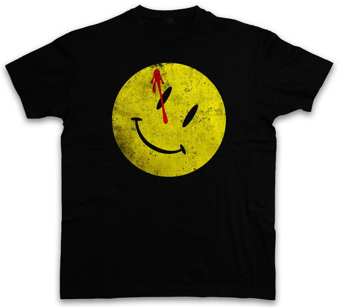BLOODY BUTTON Tops Tee T Shirt Watchmen Heroes Comedian Comic TV Smile The Movie Fitness Plus Size T-Shirt image