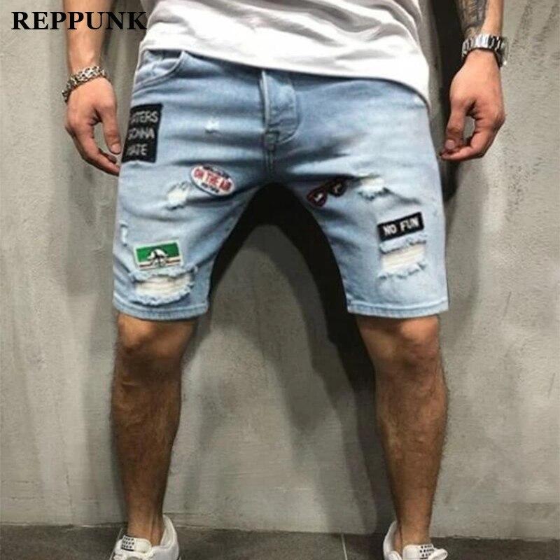Мужские рваные джинсовые шорты Hi Street, потертые джинсовые шорты с вышивкой, летние шорты до колена для мужчин, новинка 2020