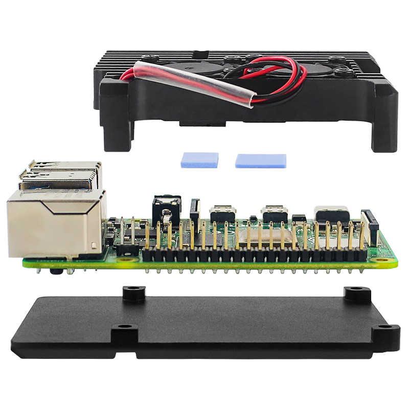 Raspberry Pi 4 Modell B Dual Fans CNC Aluminium Legierung Fall Metall 4 Farbe Rüstung Shell mit Kühlkörper für raspberry Pi 4B/3B +/3B