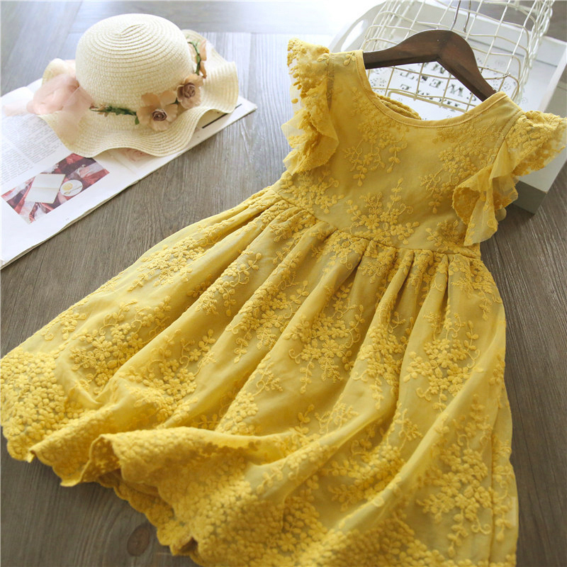 2021 novedad de verano las niñas vestido de flor bordados vestidos de fiesta de cumpleaños de 3-8 años de edad los niños chica vestidos princesa baile de graduación evento vestidos