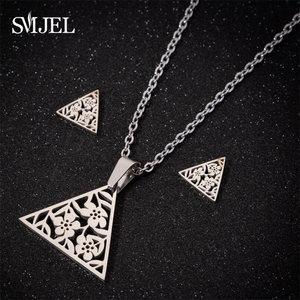 SMJEL Stainless Steel Triangle Flower Necklace Jewelry Sets Kids Geometric Art Deco Statement Collier Femme Gift Dropshipping(China)