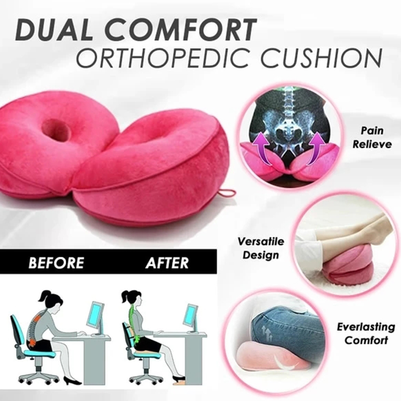 Yehapp Home Office Dual Comfort Cushion Lift Hips Up Seat Cushion Car Seat Cushion For Pressure Relief 17.7 x 12.2 x 3.9 inch