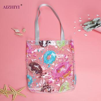 Przezroczyste torebki damskie z PVC o dużej pojemności torebki damskie torebki na plażę modne torebki na ramię tanie i dobre opinie AIZHIYI Composite torba Wristlets CN (pochodzenie) Z tworzywa sztucznego Nie zamek Moda Brak WOMEN Candy Aplikacje