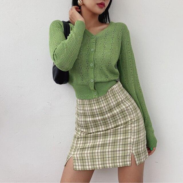 Women Split Details Plaid Mini Skirt with Under Shorts Mini Skort In Check 1