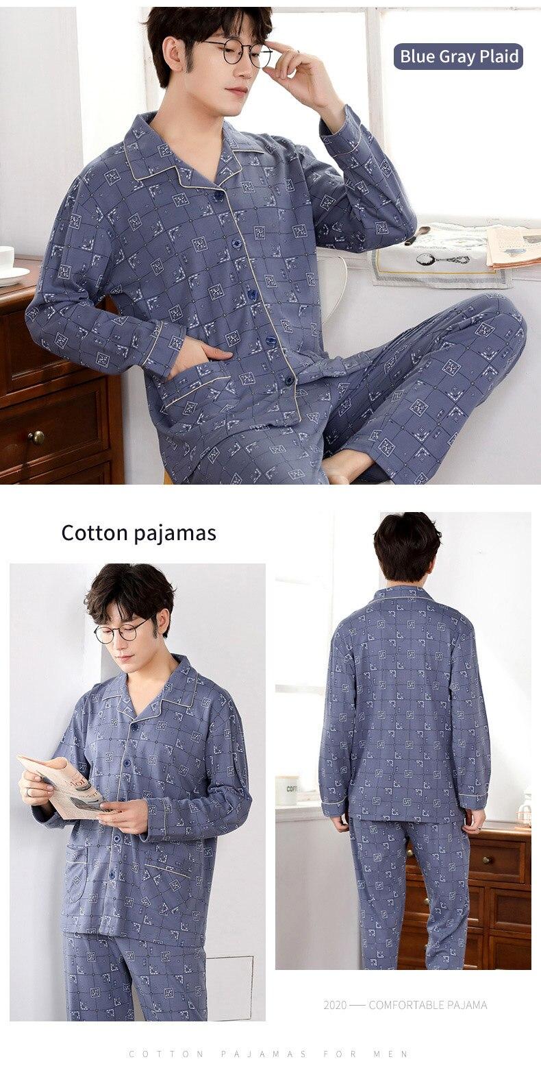 Inverno 100% pijamas de algodão masculino lounge