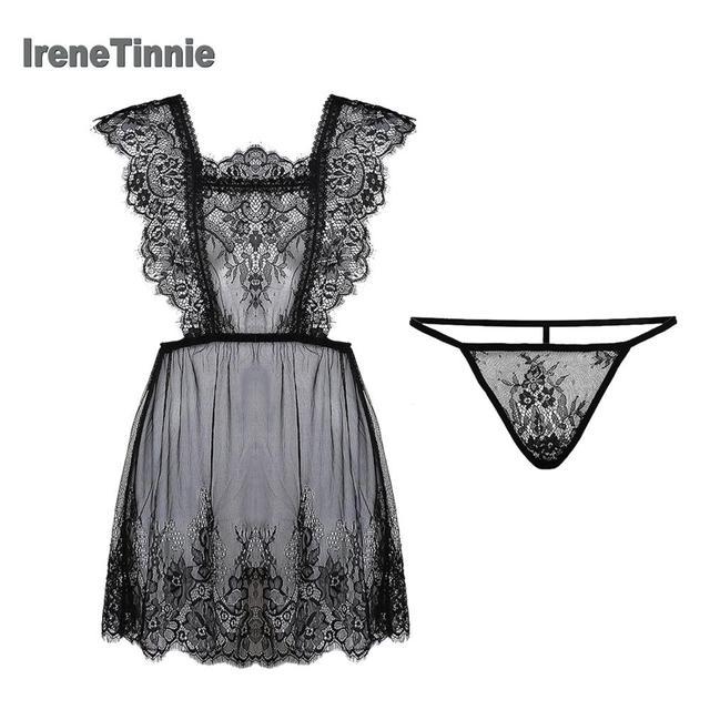 IRENE TINNIE Sexy Pajamas Women 2 Piece Sets Transparent Light Thin Temptation Lace Underwear Elegant And Romantic  Nightdress